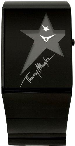 Thierry Mugler - 4700403 - Montre Femme - Quartz Analogique - Cadran Noir - Bracelet Acier Inoxydable Noir