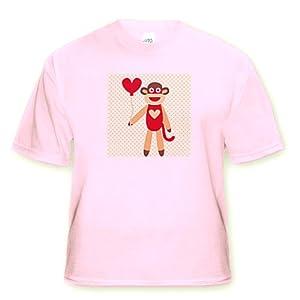 Sock Monkey With Heart Balloon - Adorable Animal Art - Adult Light-Pink-T-Shirt Large