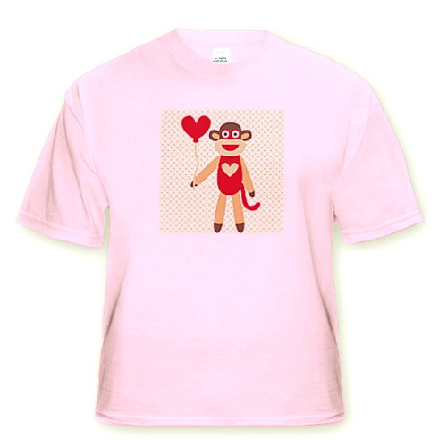 Sock Monkey With Heart Balloon - Adorable Animal Art - Light Pink Infant Lap-Shoulder Tee (18M) front-1028777