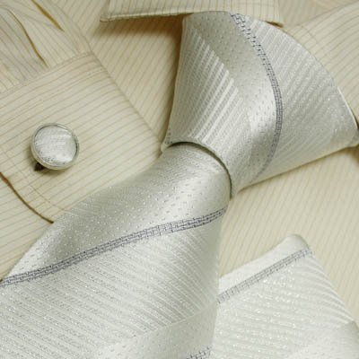 White striped silk ties for men silver stripes anniversary gifts formalwear silk tie cuff links hanky set H5006