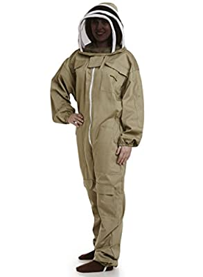 NATURAL APIARY® BEEKEEPING DELUXE SUIT - BEIGE - Complete, Full (All-in-One) - Fencing Veil - Easy to Wear & Remove - Bee Proof Seals - Professional & Beginner Beekeepers - Lifetime Guarantee