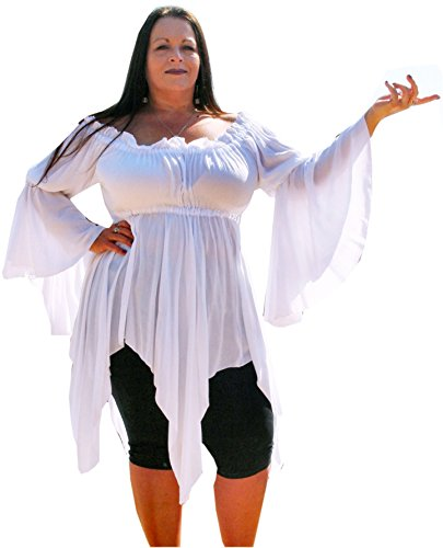 Renaissance Plus Size Pixie Gypsy Top by BBW Boutique in White - Size 5X/6X 62-70