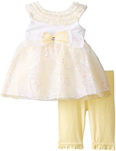 Baby Grand Signature Baby-Girls Newborn 2 Piece Bow Dress Set, Lemon Juice, 3-6 Months