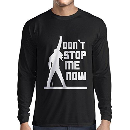 N4382L T-shirt manica lunga da uomo Don't stop me now! (Medium Nero Multicolore)