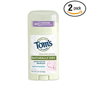 Tom's OF Maine Women's Natural Powder Naturally Dry Antiperspirant, 2.25 Ounce (Pack of 2)