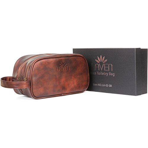 LAVEN LA-02-SR Leather Men Toiletry Bag, Brown, Gift Box - Great Birthday Christmas Gift for Man