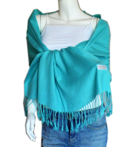 Large Soft 100% Pashmina Scarf Shawl Wrap (robin egg blue)