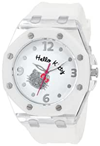 Hello Kitty Women's HWL1377WHT White Rubber Strap and Glitter Face Watch