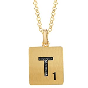 Gold Plated Sterling Silver .03 CTW Black Diamond Letter