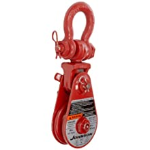 "Gunnebo Johnson SB 4S 4BS Single Sheave Snatch Block with Swivel Shackle, 3/8"" - 1/2"" Rope, 4 ton Load Capacity, 4"" Sheave"