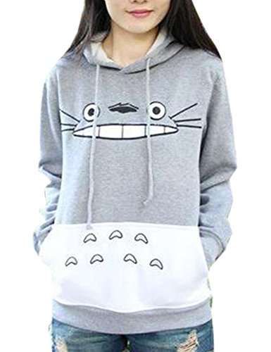 La-Cabina-Femme-T-Shirt-Sweat-shirt--Capuche-Casual-Motif-Totoro-Mignon-pour-Automne-Hiver