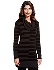 Per Una Cowl Neck Chenille Striped Knitted Tunic