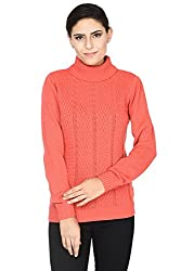 Annabelle by Pantaloons Women's Polo Neck Sweater (205000005619623, Red, Medium)