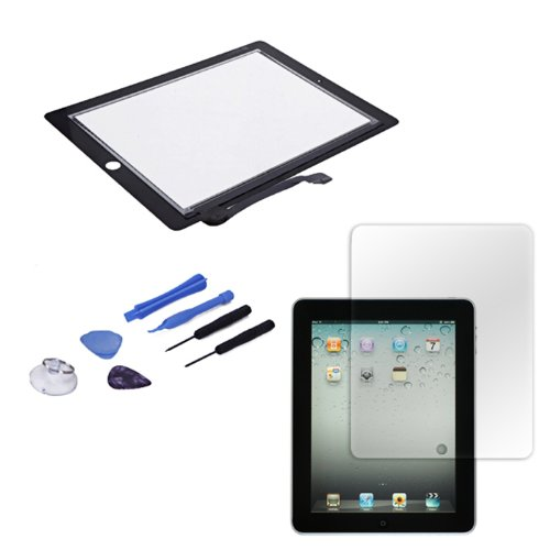 Hde Ipad 3 Digitizer Touch Screen Replacement Parts W/ 7-Piece Tool Kit, Adhesive Tape, & Screen Protector (Black)