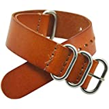 20mm Nato Style Leather Interchangeable Watch Strap Band Silver Stainless Steel Buckle (Brown)