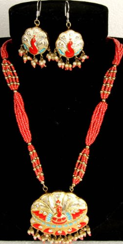 Orange Peacock Necklace and Earrings Set with Beads - Lacquer with Cut Glass