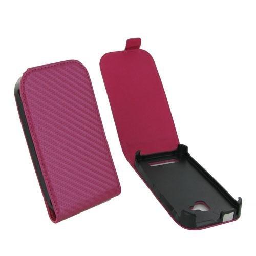 MDA HOUNO610CARBFU Etui Karbon Handytasche mit Display-Flappe für Nokia Lumia 610 rosa