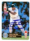 Cecil Fielder Autographed/Hand Signed baseball card (Detroit Tigers) 1992 US Playing Cards Ace Heart at Amazon.com