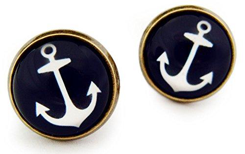 Miss Lovie orecchini nautiche ancora orecchini Cabochon 12 mm orecchini bronzo blu
