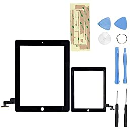 Black Touch Screen Digitizer Front Glass for Ipad 2 A1395 A1397 A1396