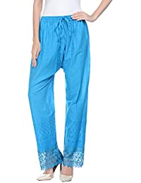 R K Fashion Pallazzo Pants In Cotton Schiffli With Matching Lace At Bottom Hem