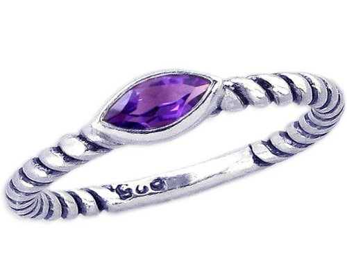 Twisted Sterling Silver Stackable Ring with East-West Medium Marquis Genuine Stone-Amethyst-in full,half,quarter sizes from 3.5 to 12_3.75