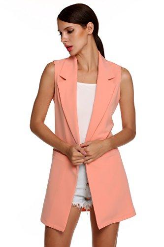 CRAVOG donna elegante cardigan lungo gilet senza manica giacca cappotto