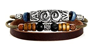 Mayan Style Beaded Leather Zen Bracelet - Adjustable, Fits 5.5 to 8 Inches, for Men, Women, Teens, Boys and Girls. (Silver Gift Box)