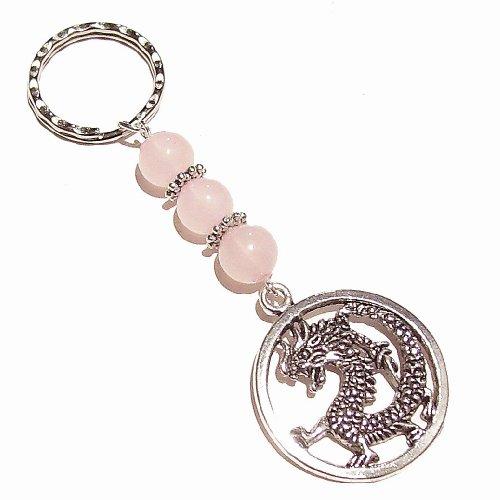 Dragon Keyring / Bag Charm w/ Semi-precious Gemstones - Rose Quartz
