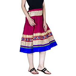 Rangsthali Indian Women Golder lace border Cotton knee length Skirt with Dori , Length - 28 Inches Waist Size - 34 Inches