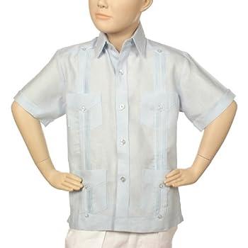 Boys linen short sleeve lt. Blue guayabera.