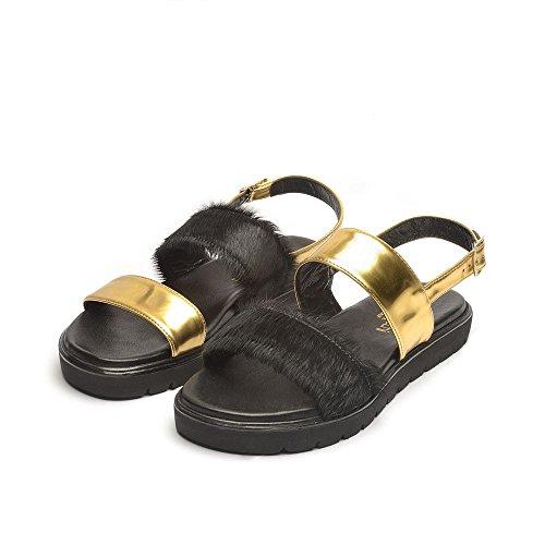Tipe e Tacchi / sandali donna colore specchio oro/cavallino nero