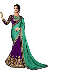 Bikaw Embroidered Turquoise Georgette Party Wear Saree - BT-1184-A4