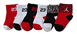 Nike Jordan 23 Baby Quarter Crew Socks 6 Pair, 12-24 Months