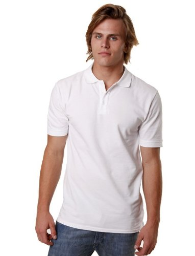 French Regular Basic Straight White Man Polo Shirts Men - S
