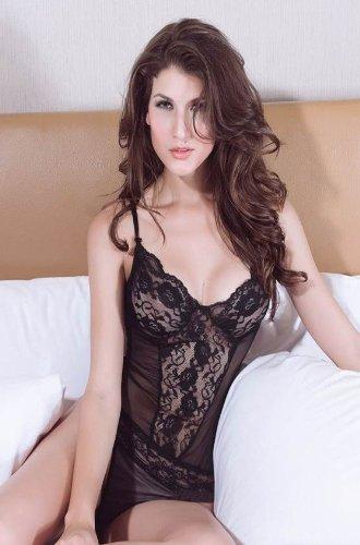 Tamari Black Lace Sexy Chemise Babydoll Lingerie Nightwear For Women One Size UK 8, 10, 12