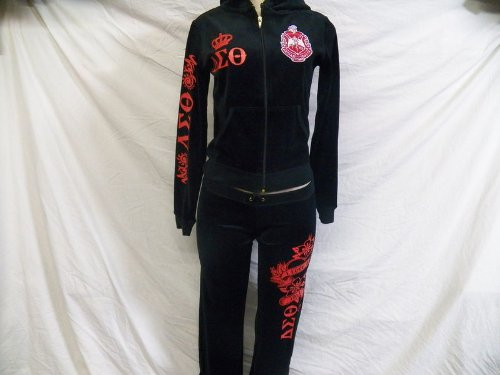 Size Small - BLACK DELTA SIGMA CHETA WARM UP WOMENS JOGGING TRACK SUITS