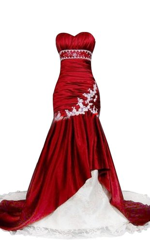 Sunvary Women's Mermaid Sweetheart Satin and Lace Bridal Dress
