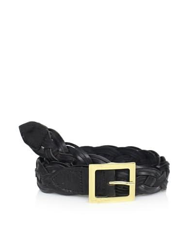 Vince Camuto Women's Scallop Woven Belt  - Black