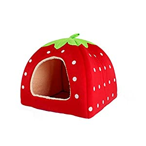 Red Strawberry Style Design Pet Dog /Cat/ Rabbit Bed Indoor House Kennel (Size: XL)
