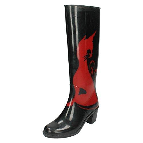Spot On, Stivali di gomma donna, Multicolore (nero/rosso), 38.5