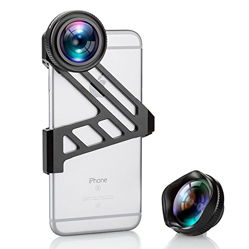 iPhone Camera Lens, Fuleadture 175 Degree Wide Angle Lens and 3X HD Telephoto Clip-On Cell Phone Camera Lens Kit for iPhone 6 6s ( with Universal Clip for All Smartphones ) – Black