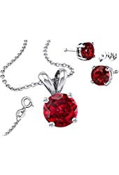 """It's Sterling Silver925 CZ 2.00 Carat Total Stud Earrings, Round Necklace with Pendant and 18"""" Chain"""