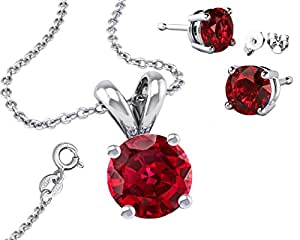 It's Sterling Silver 925 CZ 2.00 Carat Round Necklace with Pendant and 18 Inch Rolo Chain Garnet