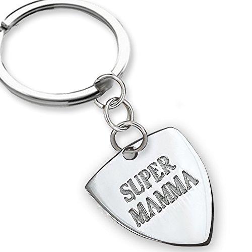 Portachiavi in argento Super Mamma, idea regalo Festa della Mamma, regalo per le mamme