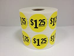 "1000 1.5"" Round $1.25 Yellow Price Point Retail Labels Stickers"