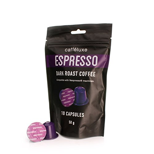 Get Nespresso Compatible Capsules Caffe Luxe Espresso Dark 50's (5 x Boxes of 10 Caps) Free Delivery by Caffe Luxe