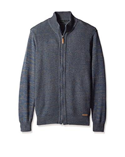 London Fog Men's Full Zip Textured Sweater