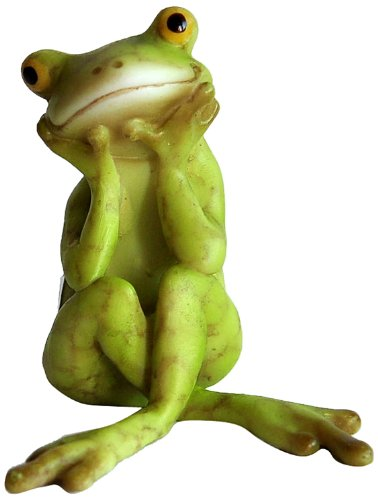 Top Collection Miniature Fairy Garden and Terrarium Frog in Thought Statue (Miniature Resin Frog compare prices)