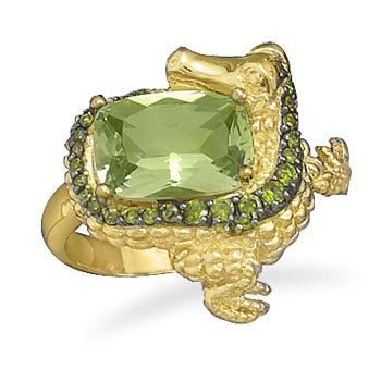 Sterling Silver Rhodium Plated and 14 Karat Gold Plated CZ Alligator Ring / Size 9